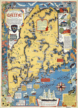 1938 Pictorial Wall Map Maine Old Dirigo Wall Art Poster Print Vintage H... - $12.38+