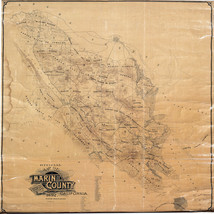 1892 Map Marin County California Wall Poster Land Ownership History Genealogy - $12.87+