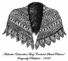 Victorian Edwardian Lace Shawl Cape Crochet Pattern1902 - $5.99