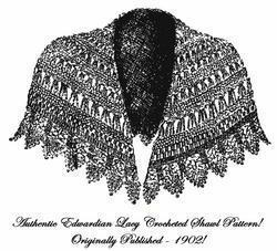 Victorian Edwardian Lace Shawl Cape Crochet Pattern1902
