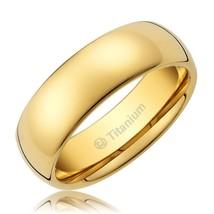 8MM Titanium Ring Wedding Band 14K Gold-Plated Polished Finish; Size 12 - $20.09