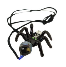 Murano-style Glass Pendant Necklace Spider Figurine with leather cord - $13.90