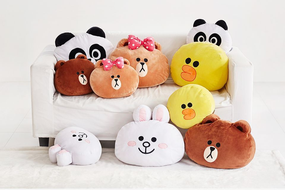 LINE Friends Soft Cushion Face Plush Pillow Doll Character Bedding Acc *Tracking