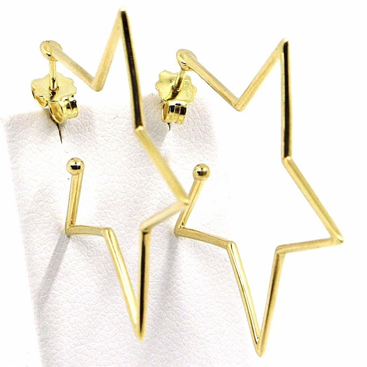 18K YELLOW GOLD PENDANT STAR EARRINGS, 1.4 INCHES LENGTH, MADE IN ITALY