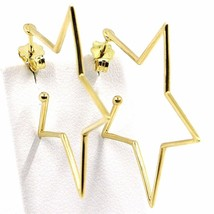 18K YELLOW GOLD PENDANT STAR EARRINGS, 1.4 INCHES LENGTH, MADE IN ITALY image 1