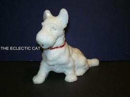 L E SMITH GLASS MILK WHITE Handpainted LARGE SCOTTIE WESTIE DOG Figurine... - $38.75