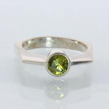 Yellow Green Peridot Solitaire Handmade Silver Unisex Geometrical Ring size 6.75 - £53.88 GBP