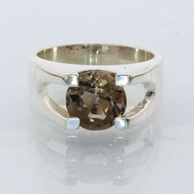 Smoky Quartz Round Handmade Sterling 925 Silver Unisex Gents Ladies Ring size 7 - £72.17 GBP