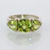 Yellow Green Peridot Handmade Sterling Silver Ladies Three Stone Ring size 8.5 - £88.35 GBP