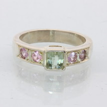 Natural Green and Pink Tourmaline Handmade Sterling Silver Ladies Ring size 7.5 - £64.80 GBP