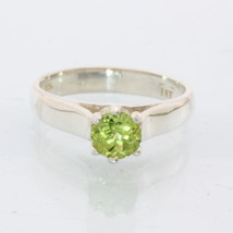 Yellow Green Peridot Solitaire Handmade Silver Ladies Engagement Ring size 8.5 - £61.16 GBP