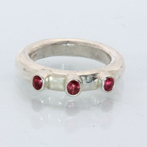 Red Sapphire Handmade Sterling Silver Three Stone Frog Eyes Hammered Rin... - $65.55