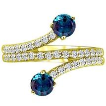 1.30 tcw 2 Stone Round cr Alexandrite & Diamond Twist Forever Ring 14k Y... - £374.50 GBP