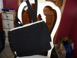 Large Blck and white woven handbag and woven ha... - $9.99