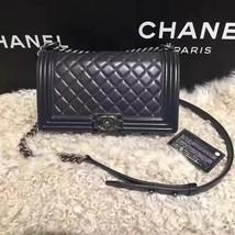 Authentic Chanel Boy Medium Flap Bag Gray Lambskin RHW