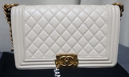 Authentic Chanel Boy Medium Flap Bag Pearlescent White Calfskin GHW