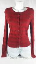 Express Design Studio Red metallic striped long sleeves Red Cardigan BinO#1 - $11.29