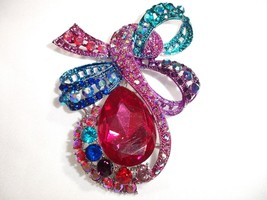 Brooch Pin Pendant made with Multi Color Rhinestone Crystal COMES IN GIF... - $12.99