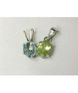 PERIDOT and BLU TOPAZ Vintage PENDANTS in STERLING Silver - Set of TWO - £38.58 GBP