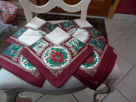 "set of 5 Christmas Poinsettia 17"" x 17"" cloth n... - $9.95"