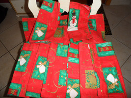 set of 9 red and green Christmas cloth napkins with angels and snowmen - $12.00