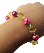 Marble Coated Fuchsia Round and Lemon Yellow Cube Bracelet and Earrings Set - $16.90+