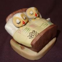 """Vintage Owls Sleeping in Bed Figurine Brown Ceramic 2"""" Couple - $21.89"""