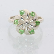 Green Tsavorite Garnet Handmade Sterling Silver Ladies Pinwheel Ring size 7.25 - £58.90 GBP