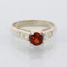 Red Spessartine Garnet White Sapphire Handmade 925 Silver Ladies Ring size 7.25 - £74.26 GBP