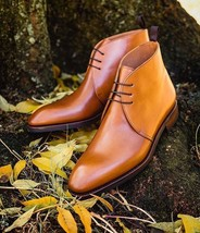 Handmade Men's Brown Leather Chukka Lace Up Boots image 3