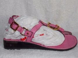 Tory Burch Pink ANKLE Strap Snake Skin Sandals 6M For Women Used - $89.09