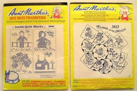 2 Aunt Martha's Iron-On Transfers Amish Quilt Blocks & Flower of the Month - $7.55