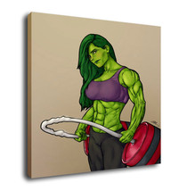 "Cartoon Oil Painting Print On Canvas Modern Decor Wall Art"" She Hulk"" Frame - $11.83+"