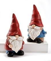 """Set of 2 -  8.5"""" Garden Gnome Design Statues - Polystone"""