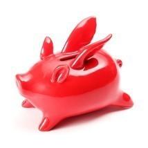 Xiaomi Red Ceramics Flying Pig High Temp Calcined Saving Pot Novelty Hom... - $29.80