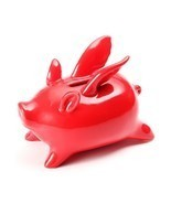 Xiaomi Red Ceramics Flying Pig High Temp Calcined Saving Pot Novelty Hom... - $29.80