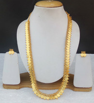 Ethnic South Indian Polki Long Temple Har Golden Coin Necklace Earrings ... - $21.38