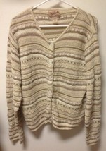 WOOLRICH Women's Sweater Cardigan Long Sleeve Cream Tan Stripe Size Medi... - $6.79