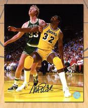 Magic Johnson Los Angeles Lakers Signed Rivalry vs Larry Bird 11x14 Photo - £95.50 GBP