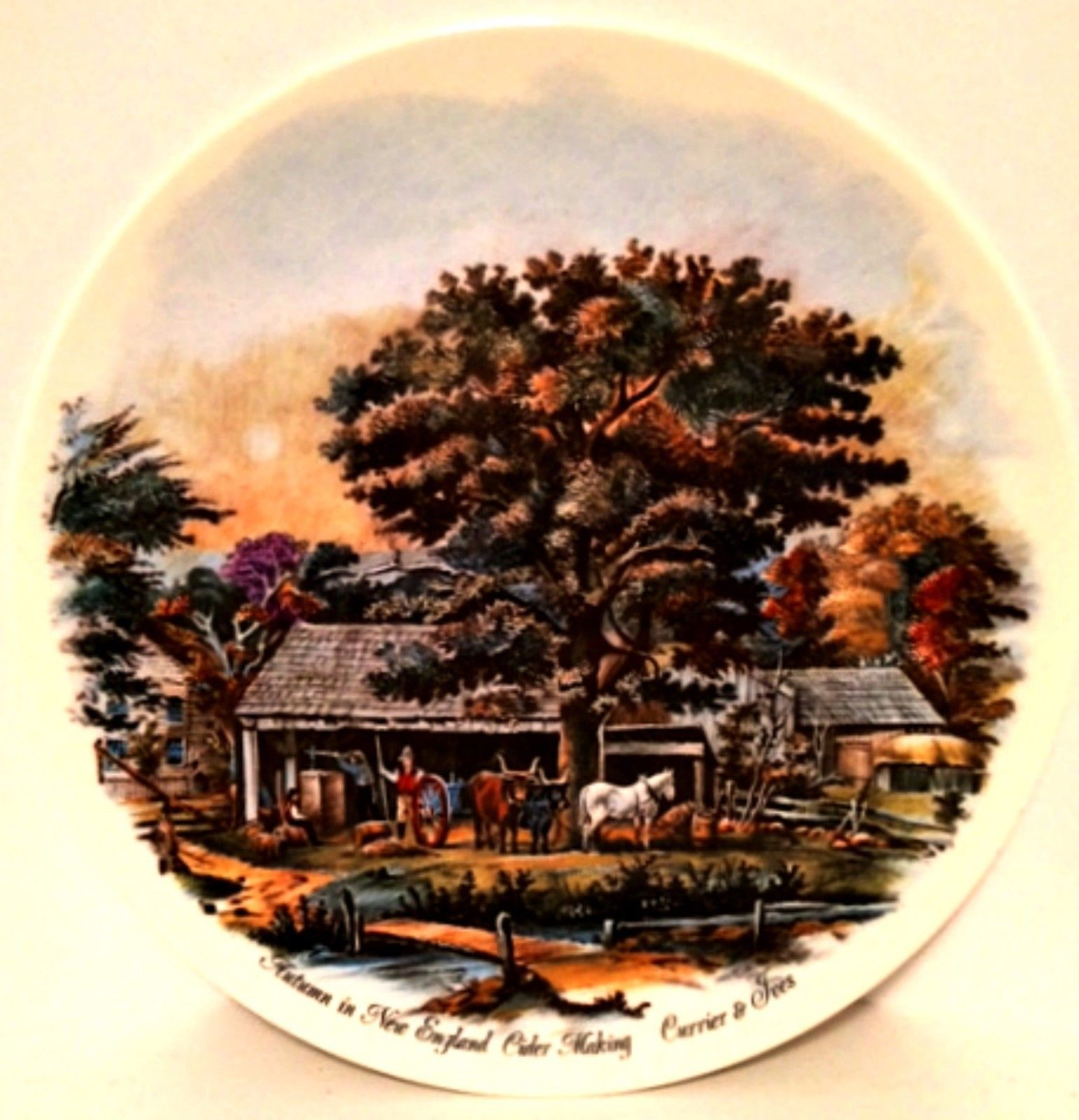 Decorator Plate Currier & Ives Autumn in New England Cider Making 9 inches