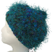 Multi-color hand knit hat with green fuzzies - $25.00