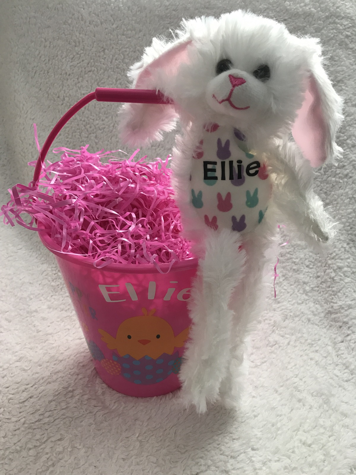 Primary image for Personalized Easter Bunny Plush in Personalized Pail with Grass