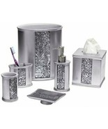 Popular Bath Sinatra Silver Basket, Tissue, Cup, Soap Dish, Toothbrush, ... - $138.59