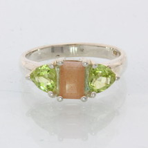 Indian Sunstone Green Peridot Handmade Silver Ladies Three Stone Ring size 6.5 - £64.88 GBP