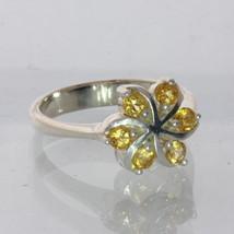 Yellow Citrine Quartz Handmade Sterling Silver Ladies Pinwheel Ring size 6.25 - £54.48 GBP