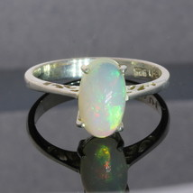 Welo Opal Solitaire Handmade 925 Silver Ladies Ajoure Filigree Ring size 8.5 - £100.48 GBP