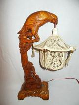 Vintage Eagle carved wood lamp China Asia décor original 1960 - $390.00