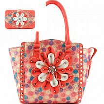 Coral Trim Multi Polka Dot Print Flower Tote Bag W Matching Wallet - $62.36