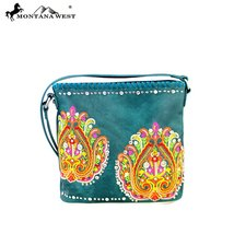 MW363-8287 Montana West Embroidered Collection Crossbody Bag-Turquoise - $47.51