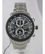 Seiko mens watches chronograph tachymeter stainless steel case sport SNA... - $193.05